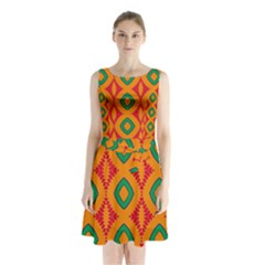 Rhombus and other shapes pattern             Sleeveless Waist Tie Dress