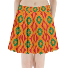 Rhombus And Other Shapes Pattern                               Pleated Mini Mesh Skirt