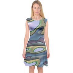 3d Shapes                                    Capsleeve Midi Dress