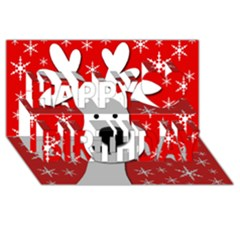 Christmas reindeer - red Happy Birthday 3D Greeting Card (8x4)