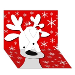 Christmas reindeer - red Ribbon 3D Greeting Card (7x5)