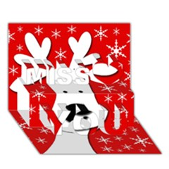 Christmas Reindeer   Red Miss You 3d Greeting Card (7x5)