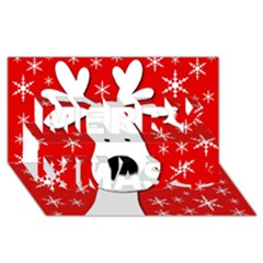 Christmas reindeer - red Merry Xmas 3D Greeting Card (8x4)