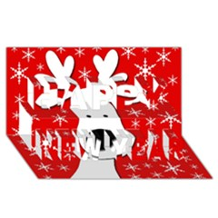 Christmas reindeer - red Happy New Year 3D Greeting Card (8x4)