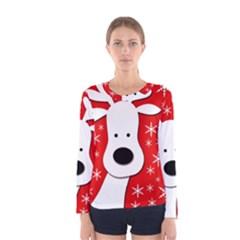 Christmas reindeer - red Women s Long Sleeve Tee