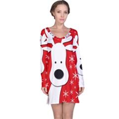 Christmas reindeer - red Long Sleeve Nightdress