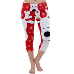 Christmas Reindeer   Red Capri Yoga Leggings
