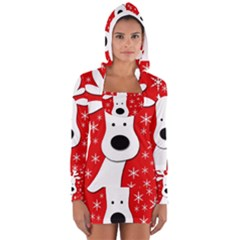 Christmas Reindeer   Red Women s Long Sleeve Hooded T Shirt