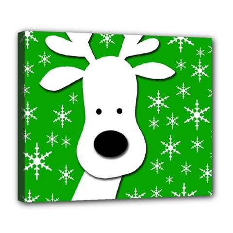 Christmas reindeer - green Deluxe Canvas 24  x 20