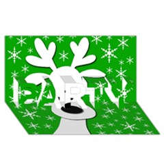 Christmas reindeer - green PARTY 3D Greeting Card (8x4)