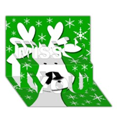Christmas reindeer - green Miss You 3D Greeting Card (7x5)
