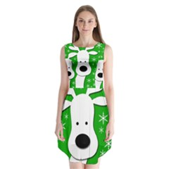 Christmas Reindeer   Green Sleeveless Chiffon Dress