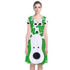 Christmas reindeer - green Short Sleeve Front Wrap Dress