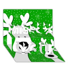 Christmas Reindeer   Green 2 Miss You 3d Greeting Card (7x5)