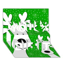Christmas reindeer - green 2 You Did It 3D Greeting Card (7x5)