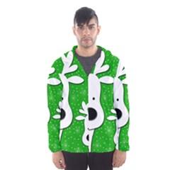 Christmas reindeer - green 2 Hooded Wind Breaker (Men)