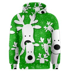 Christmas reindeer - green 2 Men s Zipper Hoodie