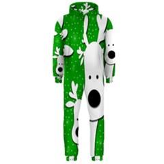 Christmas reindeer - green 2 Hooded Jumpsuit (Men)
