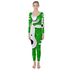 Christmas reindeer - green 2 Long Sleeve Catsuit