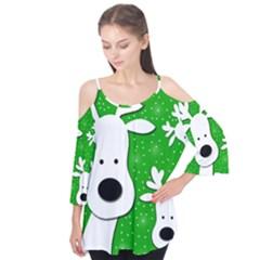Christmas Reindeer   Green 2 Flutter Tees