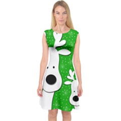 Christmas reindeer - green 2 Capsleeve Midi Dress