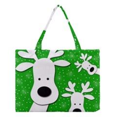 Christmas reindeer - green 2 Medium Tote Bag