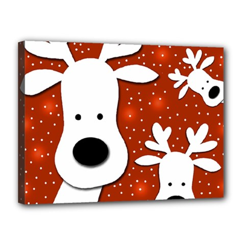 Christmas reindeer - red 2 Canvas 16  x 12