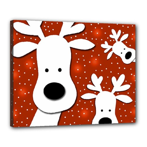 Christmas reindeer - red 2 Canvas 20  x 16