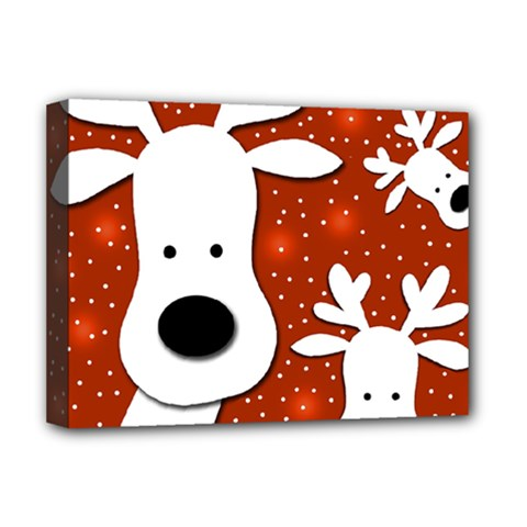 Christmas reindeer - red 2 Deluxe Canvas 16  x 12