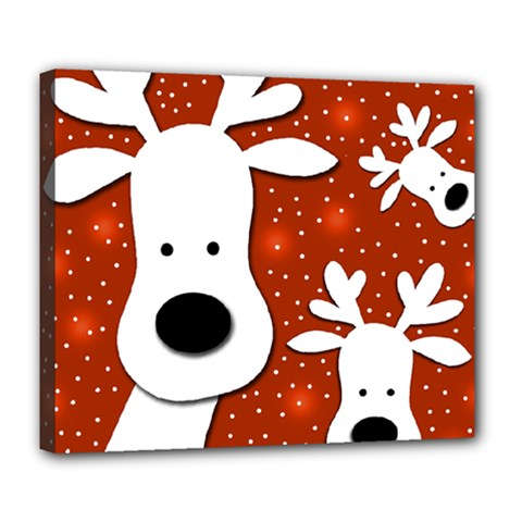 Christmas reindeer - red 2 Deluxe Canvas 24  x 20