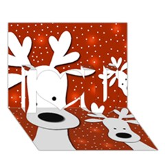 Christmas reindeer - red 2 I Love You 3D Greeting Card (7x5)