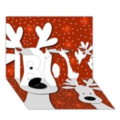 Christmas reindeer - red 2 BOY 3D Greeting Card (7x5)