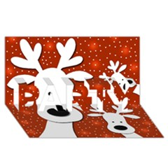 Christmas reindeer - red 2 PARTY 3D Greeting Card (8x4)