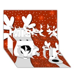 Christmas reindeer - red 2 Miss You 3D Greeting Card (7x5)