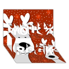 Christmas reindeer - red 2 You Rock 3D Greeting Card (7x5)