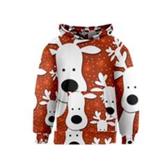 Christmas reindeer - red 2 Kids  Pullover Hoodie