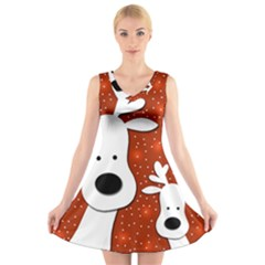 Christmas reindeer - red 2 V-Neck Sleeveless Skater Dress