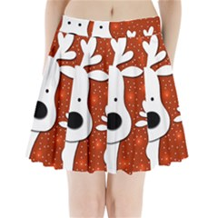 Christmas reindeer - red 2 Pleated Mini Skirt