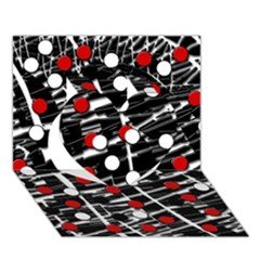 Red and white dots Heart 3D Greeting Card (7x5)