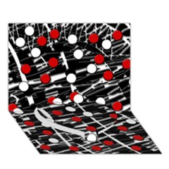 Red and white dots Heart Bottom 3D Greeting Card (7x5)