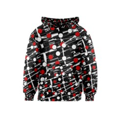 Red and white dots Kids  Pullover Hoodie