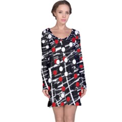 Red and white dots Long Sleeve Nightdress