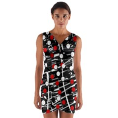 Red and white dots Wrap Front Bodycon Dress