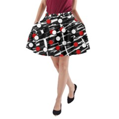 Red and white dots A-Line Pocket Skirt