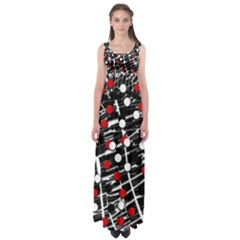 Red And White Dots Empire Waist Maxi Dress