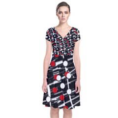 Red and white dots Short Sleeve Front Wrap Dress