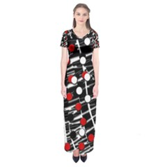 Red and white dots Short Sleeve Maxi Dress