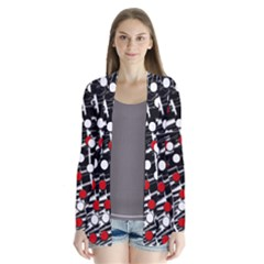 Red And White Dots Drape Collar Cardigan