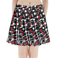Red and white dots Pleated Mini Skirt