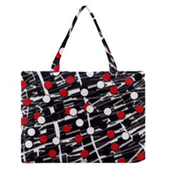 Red and white dots Medium Zipper Tote Bag